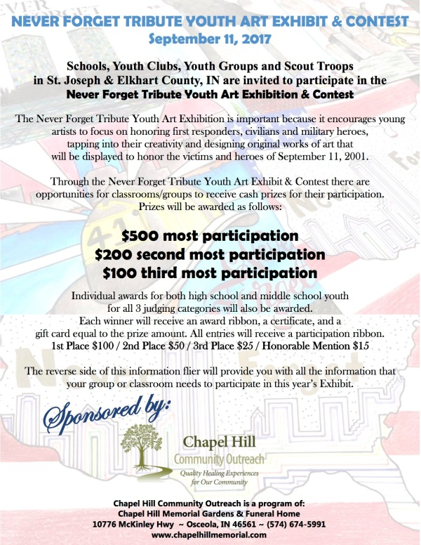 2017 Youth Art Exhibit & Contest Invitation flier, Chapel Hill Community Outreach